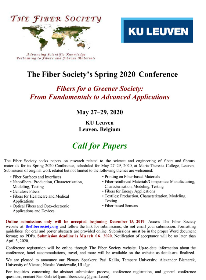 Spring 2020 Fiber Society Conference Call For Papers